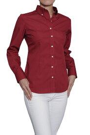 レディースシャツ レディース ワイシャツ|ドレスシャツ 長袖 赤 赤シャツ 日本製 ボタンダウンシャツ 長袖シャツ ブラウス Yシャツ ボタンダウン ユニフォーム 衣装 4Lサイズ スリムフィット 細身 おしゃれ ビジネス ビジネスワイシャツ スリム オフィス カッターシャツ