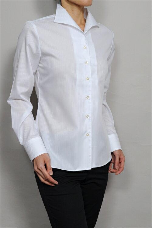 レディースシャツ レディース ワイシャツ ナチュラルフィット 長袖 イタリアンカラーシャツ クールマックス 日本製 女性用 スーツ インナー ホワイト 白 ブラウス ワンピースカラー OL トップス オフィス OZIE 母の日 17号 大きいサイズ 4L