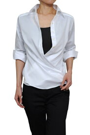 レディースシャツ レディース ワイシャツ | シャツ ドレスシャツ 七分袖 ビジネス ノーアイロン 綿100% ブラウス おしゃれ 形態安定 日本製 ビジネスシャツ カッターシャツ ボタンダウン Yシャツ しわになりにくい カシュクール 白シャツ 無地 ワイドカラー シワになりにくい