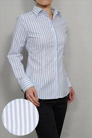 レディースシャツ レディース ワイシャツ|ブルー 青 長袖 日本製 ビジネスシャツ ブラウス 4L オフィス スリムフィット ワイドスプレッドカラー ストレッチ yシャツ おしゃれ ドレスシャツ ビジネスワイシャツ 綿100% スリム カッターシャツ ストライプ ストライプシャツ