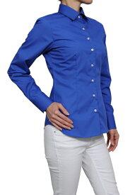 形態安定シャツ 形状記憶 レディースシャツ レディース ワイシャツ|ブルー 長袖 おしゃれ ノーアイロン 日本製 ビジネスシャツ ブラウス 細身 オフィス スリムフィット ワイドカラー 青シャツ 大きいサイズ yシャツ ドレスシャツ ビジネスワイシャツ スリム カッターシャツ