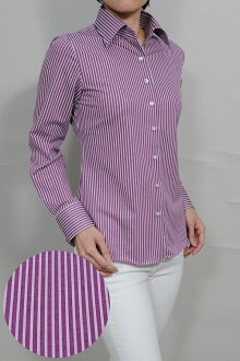 Biz polo knit Lady's long sleeves shirt | The size wide color business drip-dry that a collared shirt blouse office made in shirt high quality shirt purple purple polo shirt dress shirt fashion knit shirt y shirt business shirt Japan has a big