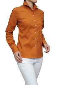 レディース ワイシャツ| イタリアンカラー シャツ ドレスシャツ 長袖 ビジネス yシャツ おしゃれ ブラウス 日本製 イタリアンカラーシャツ スーツ インナー オフィス カッターシャツ テラコッタ 赤茶色 オシャレ