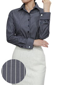 レディースシャツ レディース ワイシャツ  ダブルカフス シャツ ドレスシャツ 長袖 yシャツ カフス おしゃれ ブラウス 日本製 長袖シャツ ビジネスシャツ オフィス カッターシャツ ストライプ ネイビー 紺