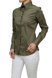 レディース シャツ ワイシャツ| ドレスシャツ 長袖 ビジネス yシャツ おしゃれ ブラウス 日本製 ビジネスシャツ オフィス カッターシャツ 大きいサイズ カーキ 緑 女性用 ワイドカラー オシャレ
