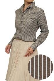母の日 シャツ レディース ワイシャツ | イタリアンカラー ブラウン 茶色 yシャツ ビジネス カッターシャツ ブラウス イタリアンカラーシャツ インナー ビジネスシャツ レディースシャツ 女性 フォーマルシャツ 高級 フォーマル 婦人 婦人服 オフィス おしゃれ