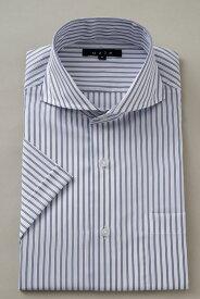 半袖ワイシャツ yシャツ 半袖シャツ クールマックス 高級 | ホリゾンタルカラー シャツ メンズ ワイシャツ おしゃれ ドレスシャツ カッタウェイ ビジネス クールビズ 半袖 スリム 紺 夏 涼しい ネイビー ビジネスシャツ カッターシャツ ホリゾンタル 半袖yシャツ ストライプ