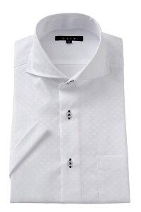 半袖ワイシャツ yシャツ 半袖シャツ クールマックス 高級 | メンズ ホリゾンタルカラー ワイシャツ シャツ ドレスシャツ おしゃれ カッタウェイ ビジネス カッターシャツ スリム ビジネスシ
