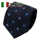 イタリア製生地使用 シルク 絹 ウール コットン 綿 ネクタイ イタリア 日本製ネクタイ 小紋 ネイビー 紺 ブルー 青 ギ…