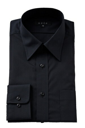 形態安定シャツ 形状記憶 レギュラーカラー メンズ ドレスシャツ 長袖ワイシャツ Yシャツ ブラック 黒シャツ レギュラーフィット 国産日本製 専門店 オフィス OZIE ギフト 紳士用 カッターシャツ ビジネスシャツ 事務 男性用 おしゃれ ブロード ギフト