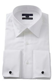 ダブルカフスシャツ ドレスシャツ スリム セミワイドカラー 綿100% 白 ビジネスシャツ メンズ | ワイシャツ ダブルカフス 高級 シャツ おしゃれ 長袖 カフス yシャツ トールサイズ ビジネス カフスボタン カッターシャツ 大きいサイズ メンズドレスシャツ フォーマル
