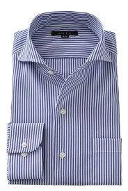 イタリアンカラー ワイドカラー メンズ ドレスシャツ 長袖ワイシャツ タイトフィット ブルー 青 ビジネスシャツ カッターシャツ おしゃれ Yシャツ オフィス|ワイシャツ シャツ 長袖 トールサイズ 綿100% スリム 紳士 ビジネス 仕事 高級 ストライプ テレワーク 在宅 コットン