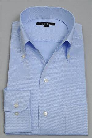 イタリアンカラーシャツ ドレスシャツ 長袖ワイシャツ タイトフィット スキッパーシャツ ボタンダウンカラー クールマックス イージーケア ブルー 青色 ワイシャツ 無地 スリム細身 カッターシャツ ビジネスシャツ ワンピースカラー オフィス OZIE shirt フランス綾