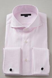 ドレスシャツ 長袖 高級 ワイシャツ | ダブルカフス ホリゾンタルカラー メンズ シャツ カッタウェイ ピンク おしゃれ スリム ダブルカフスシャツ Yシャツ ビジネスシャツ カッターシャツ フォーマル 形態安定 カフス 長袖シャツ ビジネス 綿100% カフスシャツ カフスボタン