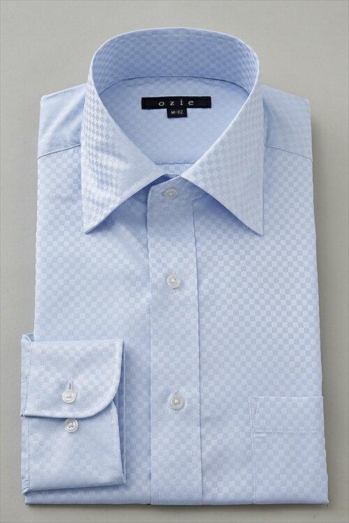ドレスシャツ 長袖ワイシャツ ワイシャツ タイトフィット スリムタイプ スリム細身 ワイドカラー メンズ おしゃれ オシャレ Yシャツ ブルー 青 サックス ギフト | シャツ ビジネス トールサイズ スリム クールビズ カッターシャツ クールマックス トール coolmax 夏