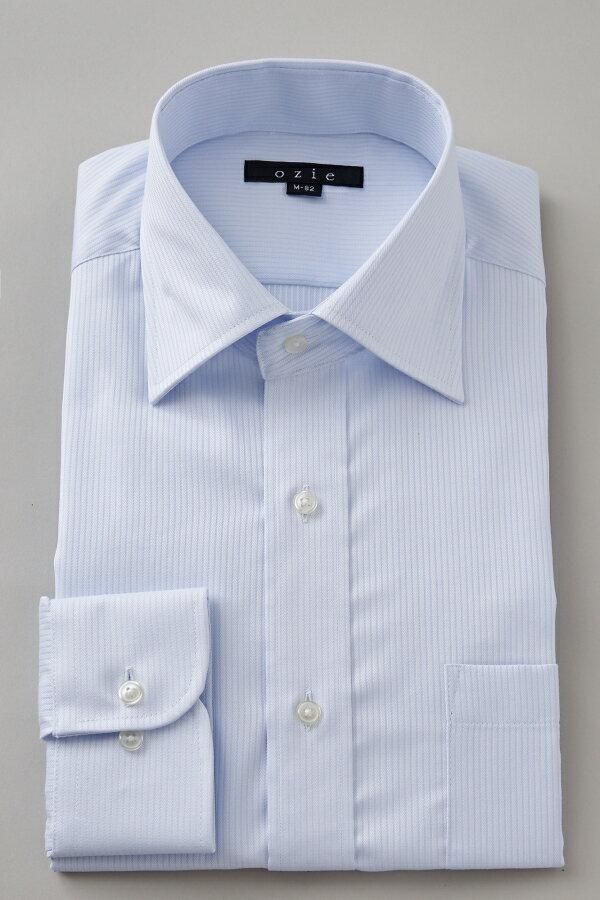 ドレスシャツ 長袖ワイシャツ タイトフィット スリム ワイドカラー メンズ おしゃれ オシャレ Yシャツ ブルー 青| シャツ ビジネス トールサイズ カッターシャツ 形態安定 プレミアムコットン 大きいサイズ 無地 ワイシャツ