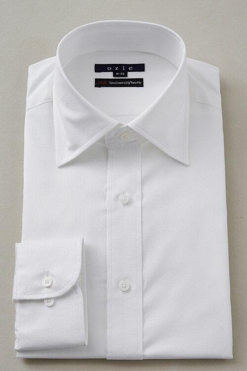 ドレスシャツ 長袖ワイシャツ ワイシャツ タイトフィット スリムタイプ スリム細身 プレミアムコットン 120番手双糸 イージーケア ワイドカラー メンズ 男性用 おしゃれ オシャレ Yシャツ ホワイト 白シャツ ギフト ポケット無し トール トールサイズ カッターシャツ 綿100%