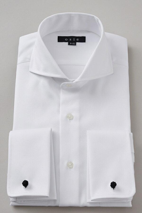 ドレスシャツ 長袖 高級 ワイシャツ   ダブルカフス ホリゾンタルカラー メンズ シャツ カッタウェイ おしゃれ スリム ダブルカフスシャツ Yシャツ ビジネスシャツ カッターシャツ 形態安定 フォーマル 白 カフス 長袖シャツ ビジネス 綿100% カフスシャツ カフスボタン