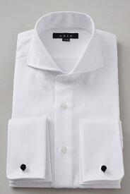 ドレスシャツ 長袖 高級 ワイシャツ | ダブルカフス ホリゾンタルカラー メンズ シャツ カッタウェイ おしゃれ スリム ダブルカフスシャツ Yシャツ ビジネスシャツ カッターシャツ 形態安定 フォーマル 白 カフス 長袖シャツ ビジネス 綿100% カフスシャツ カフスボタン