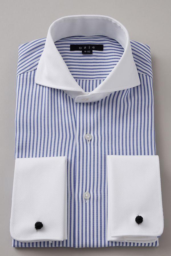 ドレスシャツ 長袖 シャツ 高級 ワイシャツ   ホリゾンタルカラー メンズ ダブルカフス ブルー 青 おしゃれ クレリックシャツ カッタウェイ ビジネス 綿100% ダブルカフスシャツ カフスシャツ Yシャツ カッターシャツ ホリゾンタル メンズドレスシャツ クールビズ 父の日