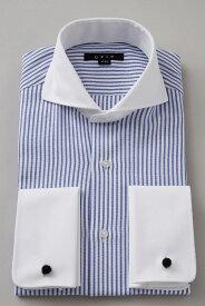 ドレスシャツ 長袖 シャツ 高級 ワイシャツ | ホリゾンタルカラー メンズ ダブルカフス ブルー 青 おしゃれ クレリックシャツ カッタウェイ ビジネス 綿100% ダブルカフスシャツ カフスシャツ Yシャツ カッターシャツ ホリゾンタル メンズドレスシャツ クールビズ 父の日