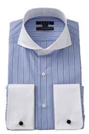 ドレスシャツ 長袖 シャツ 高級 ワイシャツ | ダブルカフス ブルー 青 ホリゾンタルカラー メンズ クレリックシャツ おしゃれ カッタウェイ ビジネス 綿100% ダブルカフスシャツ カッターシャツ Yシャツ ビジネスシャツ フォーマル コットンシャツ 長袖シャツ ポケットなし