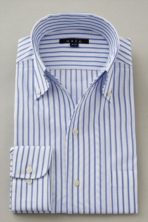 イタリアンカラー シャツ  メンズ 高級 ワイシャツ ブルー 青 スキッパー 開襟シャツ ドレスシャツ ビジネス おしゃれ ボタンダウンシャツ 長袖 トールサイズ ビジネスシャツ カッターシャツ Yシャツ ボタンダウン ストライプ 4L ノーネクタイ クールビズ 夏用 送料無料