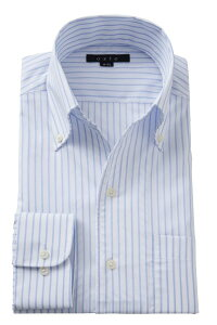 イタリアンカラー シャツ メンズ ドレスシャツ | ワイシャツ 青 高級 おしゃれ ビジネス ボタンダウンシャツ 長袖 クールマックス カッターシャツ ストライプ スキッパー ビジネスシャツ ト