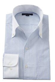 イタリアンカラー シャツ メンズ ドレスシャツ | ワイシャツ 青 高級 おしゃれ ビジネス ボタンダウンシャツ 長袖 夏 涼しい クールマックス クールビズ カッターシャツ ストライプ スキッパー ビジネスシャツ トールサイズ Yシャツ 大きいサイズ 夏用 カラー サイズ豊富