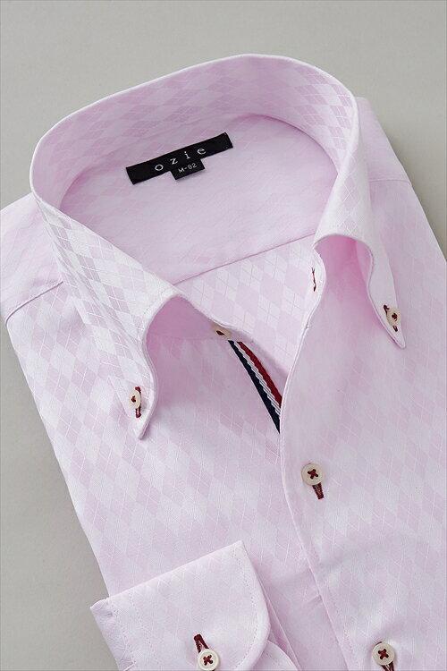 イタリアンカラーシャツ メンズ ドレスシャツ 長袖 ワイシャツ 長袖シャツ スリム細身 タイトフィット 無地 ピンク ビジネスシャツ カッターシャツ Yシャツ|トール トールサイズ ボタンダウン ビジネス 綿100% イージーケア ボタンダウンシャツ イタリアンカラー
