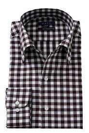 イタリアンカラーシャツ メンズ ドレスシャツ タイトフィット 茶色 ボタンダウンシャツ ビジネスシャツ カッターシャツ おしゃれ Yシャツ | ワイシャツ イタリアンカラー シャツ 長袖 トールサイズ スリム ボタンダウン 高級 綿100% テレワーク 在宅 コットン コットンシャツ