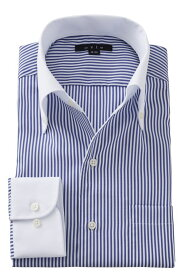 イタリアンカラーシャツ メンズ ドレスシャツ 長袖 ワイシャツ タイトフィット ブルー 青 ボタンダウンシャツ ビジネスシャツ カッターシャツ おしゃれ Yシャツ 高級|シャツ イタリアンカラー ビジネス トールサイズ ボタンダウン スリム ストライプ 綿100% テレワーク 在宅