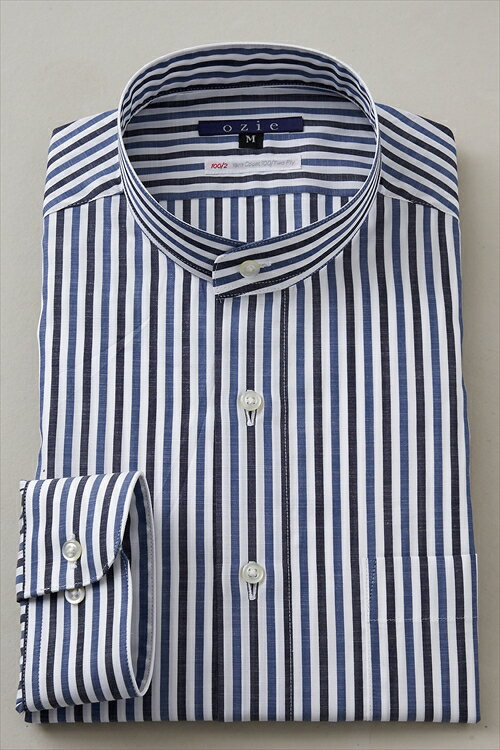 希少な衿型=スタンドカラーシャツ! | シャツ メンズ スタンドカラー ドレスシャツ 長袖シャツ おしゃれ ネイビー 紺 日本製 ビジネスシャツ カッターシャツ Yシャツ オフィス プレミアムコットン 長袖ワイシャツ 100番手 綿麻 長袖 ビジネスワイシャツ ストライプ 紳士