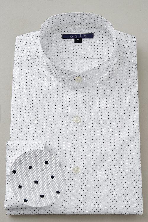 希少な衿型=スタンドカラーシャツ!   スタンドカラー シャツ メンズ ドレスシャツ おしゃれ 日本製 ビジネスシャツ 長袖シャツ Yシャツ カッターシャツ オフィス OZIE 白 ギフト ホワイト 男性 長袖ワイシャツ 綿100% ビジネス ビジネスワイシャツ ドット コットンシャツ