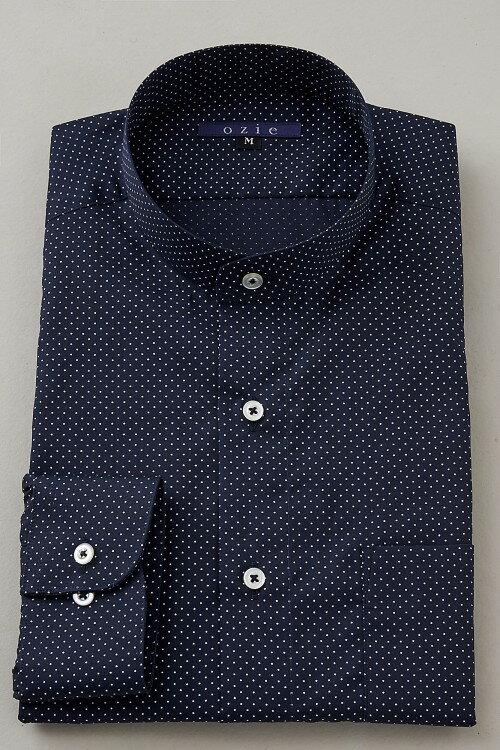 希少な衿型=スタンドカラーシャツ! | スタンドカラー シャツ メンズ ドレスシャツ おしゃれ 日本製 ビジネスシャツ 長袖シャツ Yシャツ カッターシャツ オフィス OZIE ギフト 男性 長袖ワイシャツ ネイビーブルー 紺 綿100% ビジネス ビジネスワイシャツ コットンシャツ