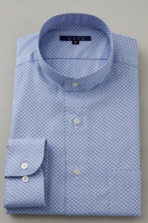 希少な衿型=スタンドカラーシャツ! | ブルー 青 スタンドカラー シャツ メンズ ドレスシャツ おしゃれ 日本製 ビジネスシャツ 長袖シャツ Yシャツ カッターシャツ オフィス OZIE 男性 長袖ワイシャツ 綿100% ビジネス ビジネスワイシャツ カラーシャツ コットンシャツ