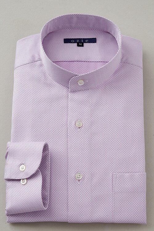 希少な衿型=スタンドカラーシャツ!   スタンドカラー シャツ メンズ ドレスシャツ おしゃれ ピンク 日本製 ビジネスシャツ 長袖シャツ Yシャツ カッターシャツ オフィス OZIE ギフト 男性 長袖ワイシャツ 綿100% ビジネス ビジネスワイシャツ カラーシャツ コットンシャツ