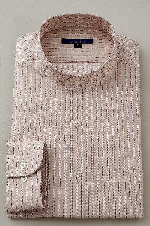 希少な衿型=スタンドカラーシャツ!   スタンドカラー シャツ メンズ ドレスシャツ おしゃれ 日本製 ビジネスシャツ 長袖シャツ Yシャツ カッターシャツ オフィス OZIE ギフト ベージュ 男性 長袖ワイシャツ 綿100% ビジネス ビジネスワイシャツ ストライプ コットンシャツ