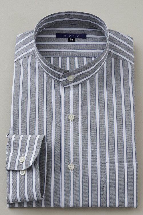 希少な衿型=スタンドカラーシャツ!   スタンドカラー シャツ メンズ ドレスシャツ おしゃれ 日本製 ビジネスシャツ 長袖シャツ Yシャツ カッターシャツ オフィス OZIE グレー ギフト 男性 長袖ワイシャツ 綿100% ビジネス ビジネスワイシャツ ストライプ コットンシャツ