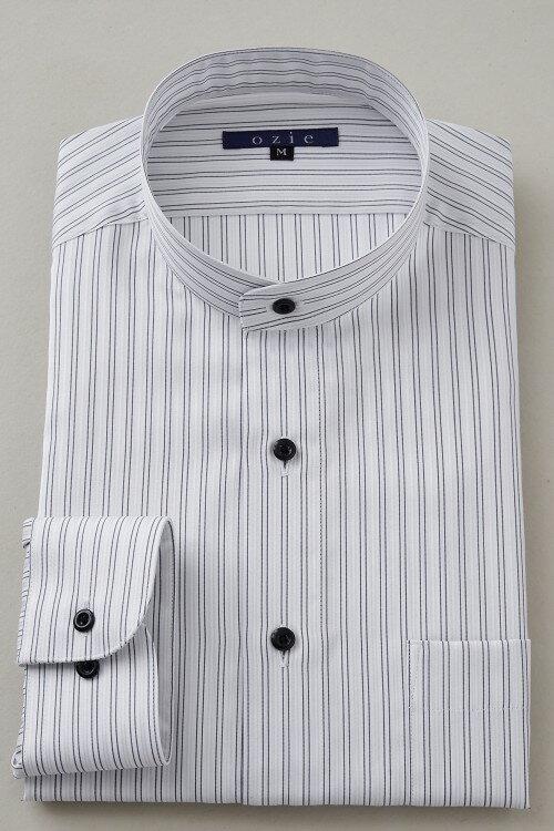 希少な衿型=スタンドカラーシャツ!|シャツ メンズ スタンドカラー ドレスシャツ ビジネス 長袖シャツ 綿100% おしゃれ 日本製 ビジネスシャツ カッターシャツ Yシャツ オフィス ストライプ コットンシャツ グレー 長袖ワイシャツ ビジネスワイシャツ ストライプシャツ 紳士