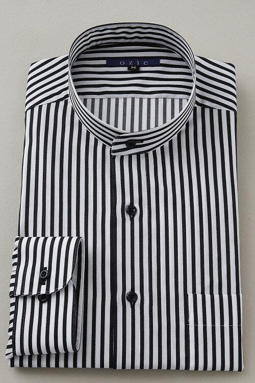 希少な衿型=スタンドカラーシャツ!   スタンドカラー シャツ メンズ ドレスシャツ おしゃれ 黒 日本製 ビジネスシャツ 長袖シャツ Yシャツ カッターシャツ オフィス OZIE ブラック 男性 長袖ワイシャツ 綿100% ビジネス ビジネスワイシャツ ストライプ コットンシャツ