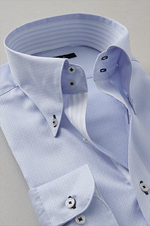 ドレスシャツ 長袖|ワイシャツ ブルー 青 シャツ イタリアンカラー メンズ ビジネス トールサイズ おしゃれ ノーネクタイ Yシャツ カッターシャツ ボタンダウンシャツ 長袖シャツ ビジネスシャツ ドゥエボットーニ トール スキッパー サックス ボタンダウン クールマックス