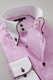ドレスシャツ 長袖 高級 ワイシャツ 長袖シャツ ドゥエボットーニ ボタンダウンシャツ クレリックシャツ メンズ Yシャツ ビジネス ピンク| シャツ 綿100% おしゃれ ビジネスシャツ カッターシャツ ボタンダウン クレリック カラーシャツ 結婚式 二次会 ストライプシャツ