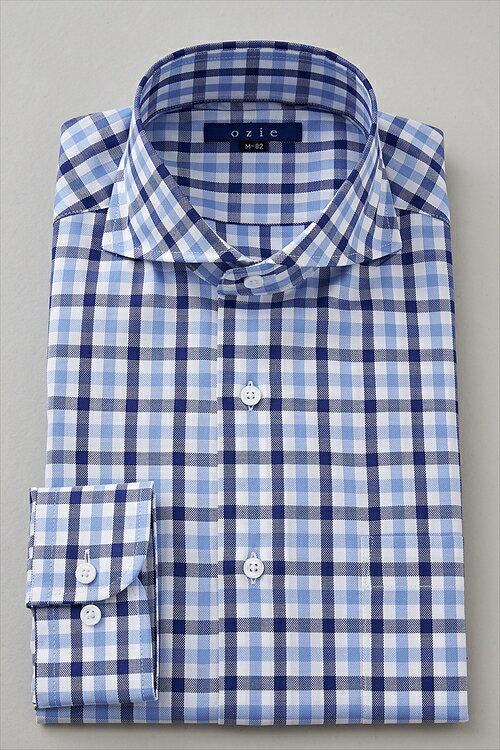 送料無料 ホリゾンタルカラー メンズ ドレスシャツ 長袖 ワイシャツ Yシャツ カジュアル タイトフィット スリムタイプ スリムフィット細身 プレミアムコットン オックスフォード 140番手 チェック ビジネス カッターシャツ おしゃれ ブルー 青 ギフト