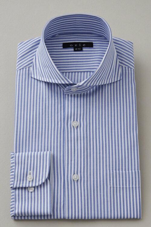 ドレスシャツ 長袖 高級 ワイシャツ|ホリゾンタルカラー シャツ メンズ ブルー 青 クールビズ 長袖シャツ カッタウェイ ビジネス ノーネクタイ 綿100% おしゃれ スリム ビジネスシャツ ホリゾンタル カッターシャツ オフィス Yシャツ 夏 涼しい タイト トールサイズ