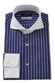 ドレスシャツ 長袖 高級 ワイシャツ ネイビー スリム ビジネスシャツ メンズ おしゃれ Yシャツ| ホリゾンタルカラー シャツ カッタウェイ ビジネス 綿100% カッターシャツ ホリゾンタル クレリック メンズドレスシャツ クレリックシャツ ストライプシャツ ストライプ