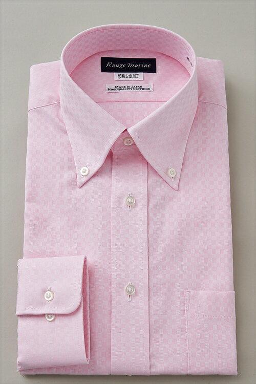 形態安定 ドレスシャツ 長袖ワイシャツ ボタンダウンカラーピンク ワイシャツ 無地 日本製 ノーアイロン ボタンダウンシャツ メンズ 男性用 おしゃれ Yシャツ 専門店 オフィス OZIE shirt ギフト