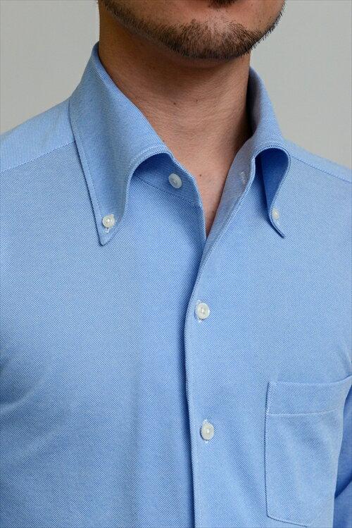 送料無料 ビズポロ 鹿の子シャツ クールマックス クールビズ ニットシャツ ドレスシャツ 長袖|ワイシャツ ブルー 青 シャツ イタリアンカラー メンズ ビジネス おしゃれ ノーネクタイ スリム Yシャツ カッターシャツ ボタンダウンシャツ ビジネスシャツ ボタンダウン 無地