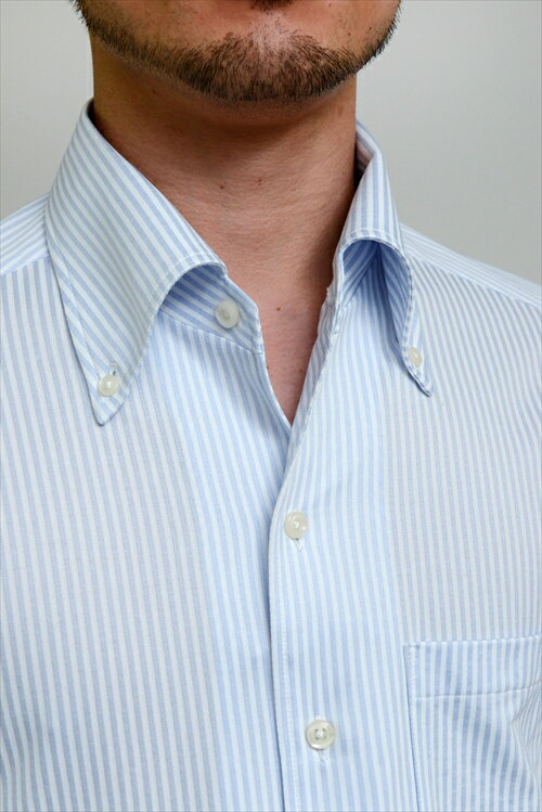 送料無料 ビズポロ クールマックス クールビズ ニットシャツ ドレスシャツ 長袖|ワイシャツ ブルー 青 シャツ イタリアンカラー メンズ ビジネス おしゃれ ノーネクタイ スリム Yシャツ カッターシャツ ボタンダウンシャツ 長袖シャツ ビジネスシャツ サックス ボタンダウン