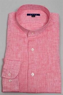 供亚麻100%标准色衬衫式裙衫衬衫衬衫清凉商务素色红色红绅士使用的柠麻彩色亚麻衬衫商务衬衫刻刀衬衫Y衬衫夏季商品OZIE平编织